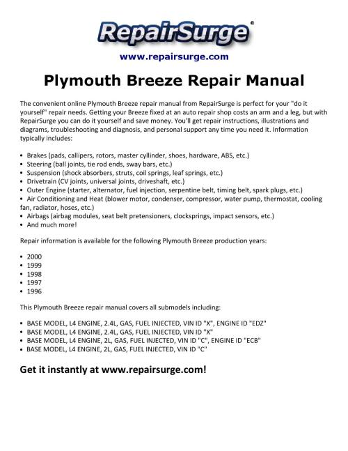small resolution of plymouth breeze repair manual 1996 2000 by david williams issuu