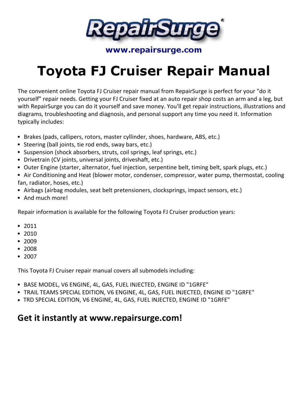 medium resolution of 2011 toyotum fj cruiser engine diagram