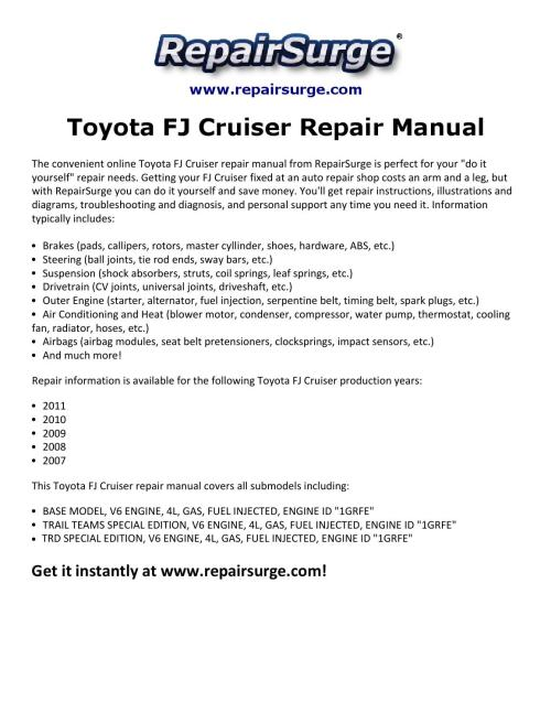 small resolution of fj cruiser repair manual 2007