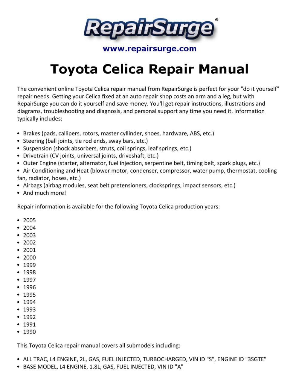 medium resolution of toyota celica repair manual 1990 2005