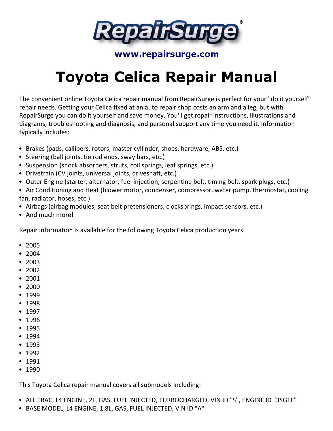 hight resolution of toyota celica repair manual 1990 2005