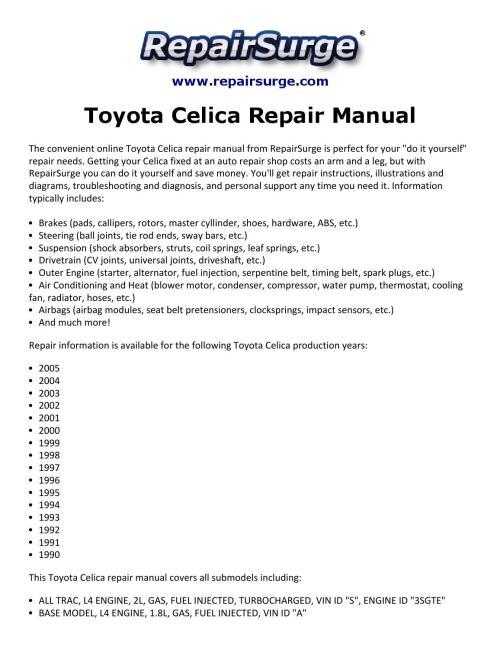 small resolution of toyota celica repair manual 1990 2005