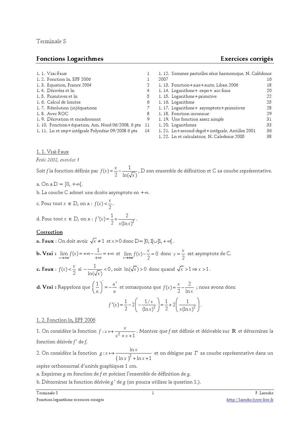 Logarithme Népérien Terminale Es Exercices Corrigés : logarithme, népérien, terminale, exercices, corrigés, Exercices, Logarithme, Corriges, Bac-Bik.dz, Issuu