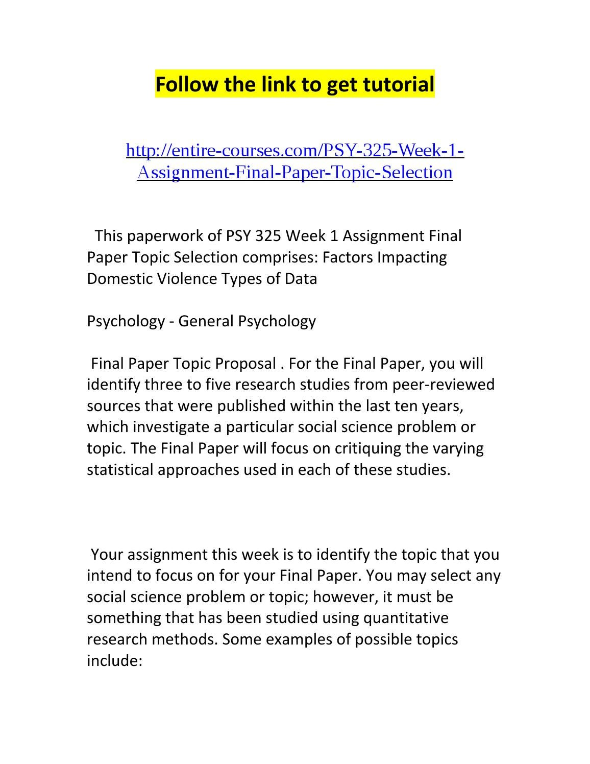 Psy 325 Week 1 Assignment Final Paper Topic Selection By Dena Issuu