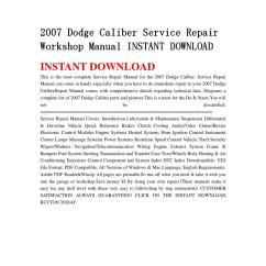 2007 Dodge Caliber Horn Wiring Diagram Towbar 12s Information Electrics Diagrams Service Repair Workshop Manual Instant