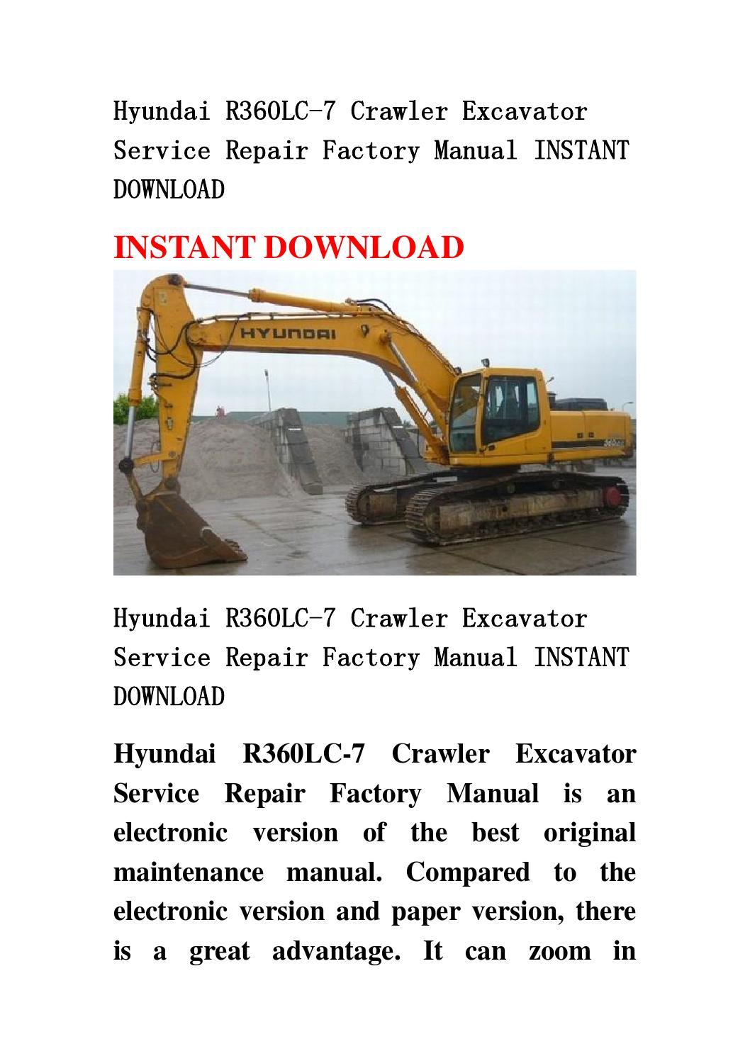 hyundai r360lc 7 crawler excavator service repair factory