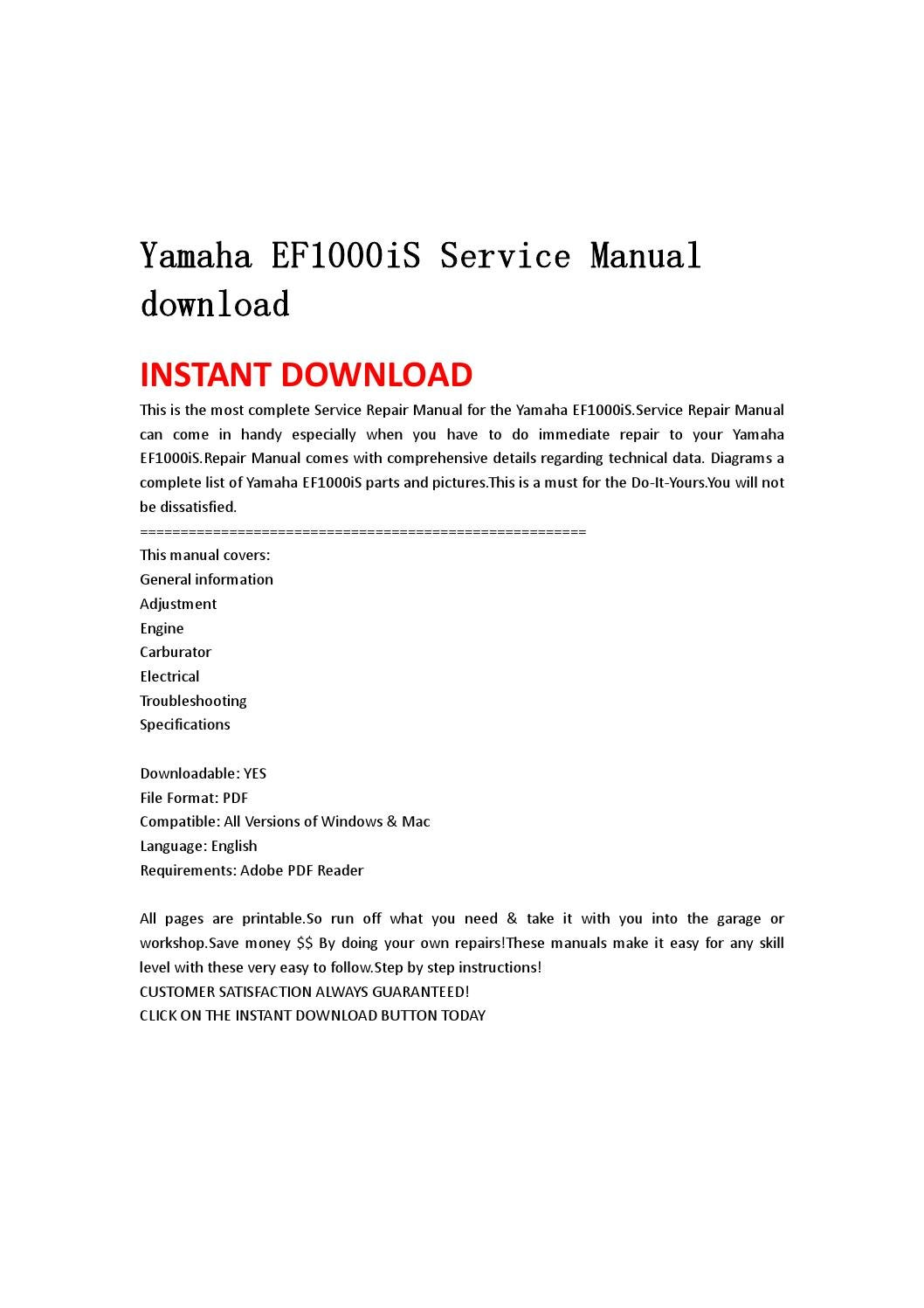 hight resolution of yamaha ef1000is service manual download by iusefjsnen issuuyamaha ef1000is wiring diagram 11