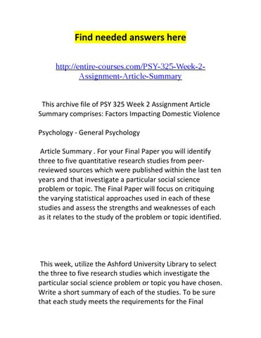 Psy 325 Week 2 Assignment Article Summary By Kevin Issuu