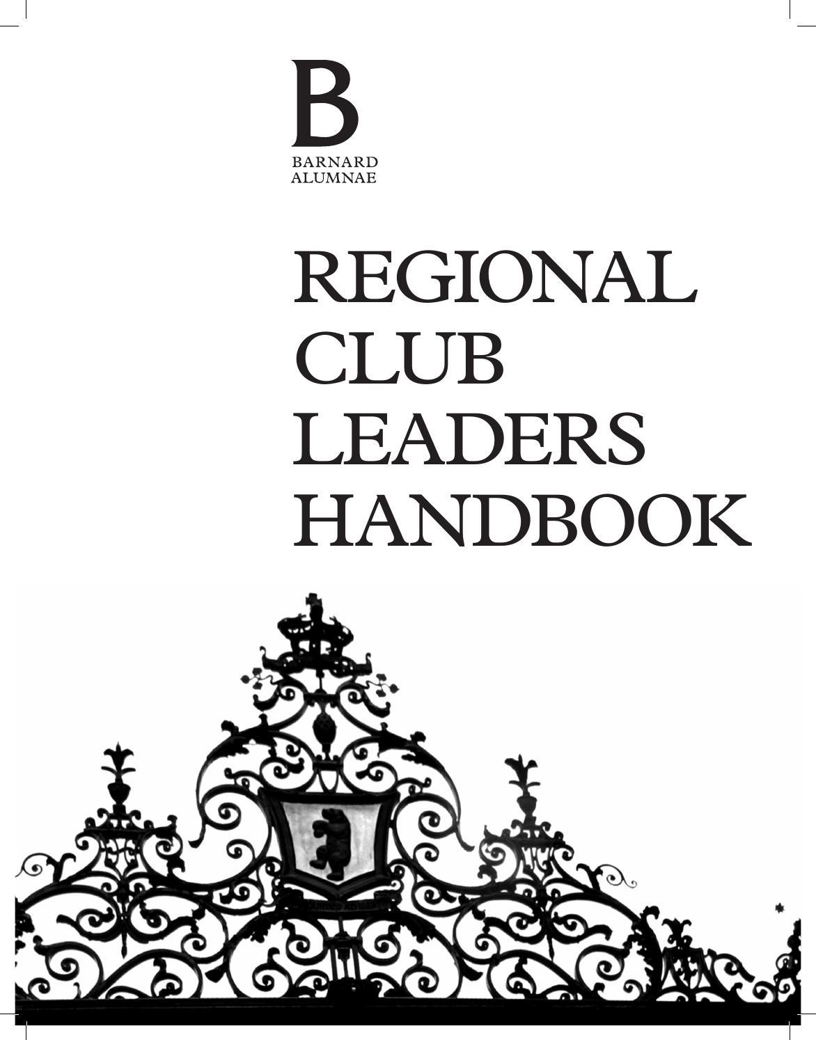 Barnard College Regional Club Leaders Handbook 2015 by