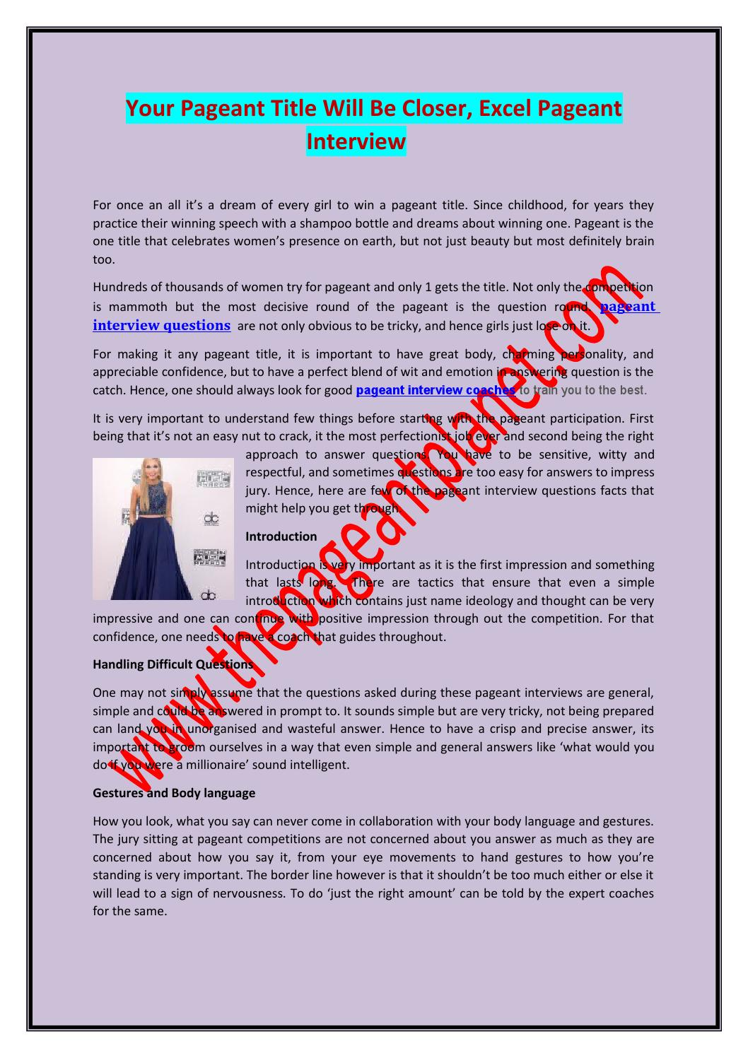 Witty Questions For Beauty Pageants : witty, questions, beauty, pageants, Pageant, Interview, Coaches, Thepageantplanet, Issuu