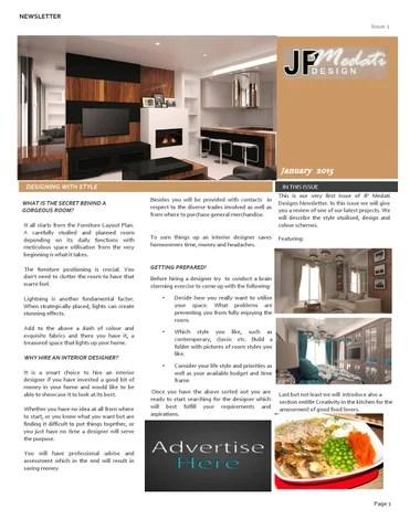 JP Medati Interior Design Newsletter Issue 1 January 2015 By Jean