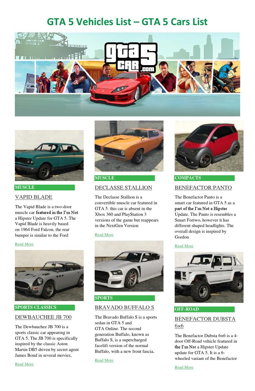 Gta 5 Ps3 Cars : Issuu