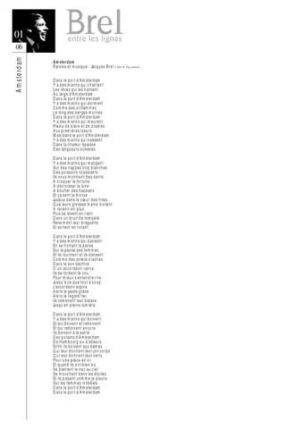 Jacques Brel Dans Le Port D'amsterdam : jacques, d'amsterdam, Entre, Lignes, Wallonie-Bruxelles, International, Issuu
