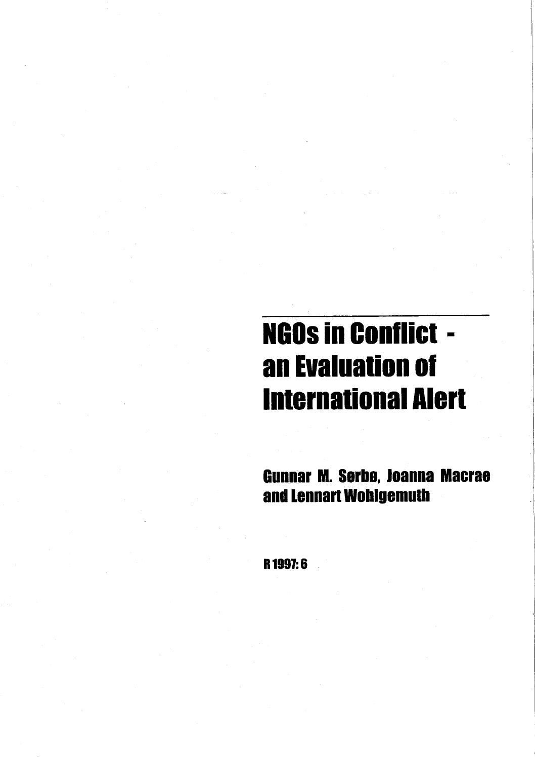 NGOs in conflict- an evaluation of International Alert by