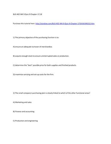 Bus 402 week 9 quiz 9 chapter 17,18 strayer university new