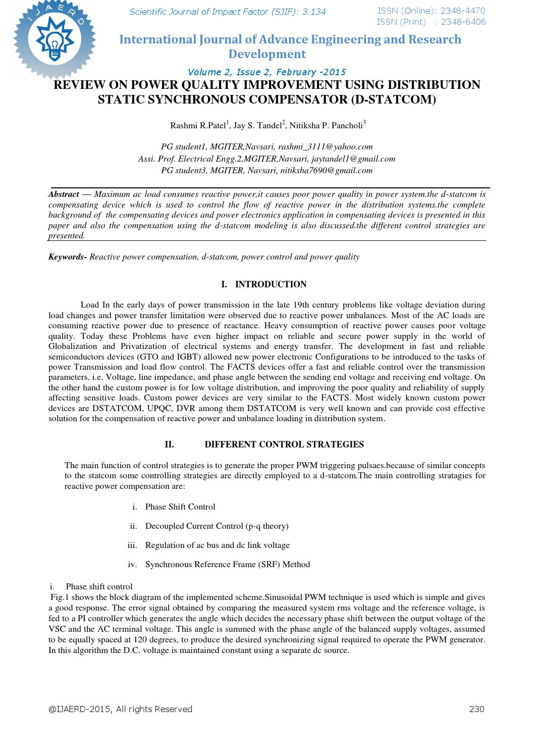 hight resolution of review on power quality improvement using distribution static synchronous compensator d statcom 16 by editor ijaerd issuu