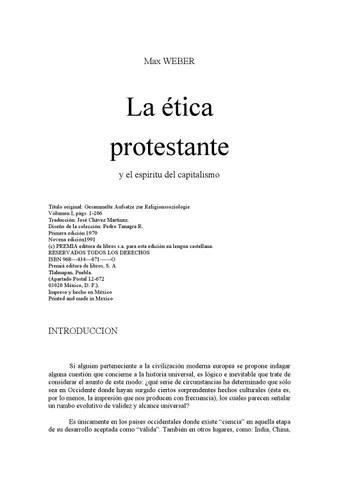 Max Weber La Tica Protestante Y El Espritu Del