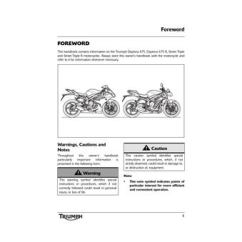 Triumph Street Triple R Wiring Diagram 1995 Toyota Tercel Engine Owner S Manual Abs By Mototainment Ducati Foreword This Handbook Contains Information On The Daytona 675 And Motorcycles
