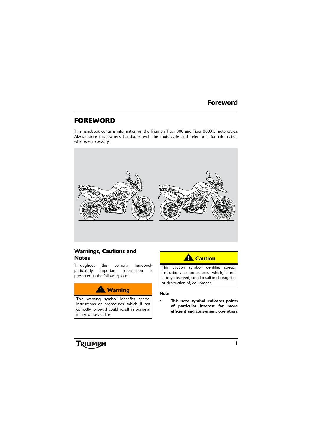hight resolution of owner s manual triumph tiger 800 xc by mototainment ducati triumph new york issuu