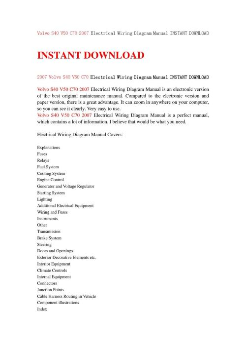 small resolution of volvo s40 v50 c70 2007 electrical wiring diagram manual instant download by jfjhsejfn issuu