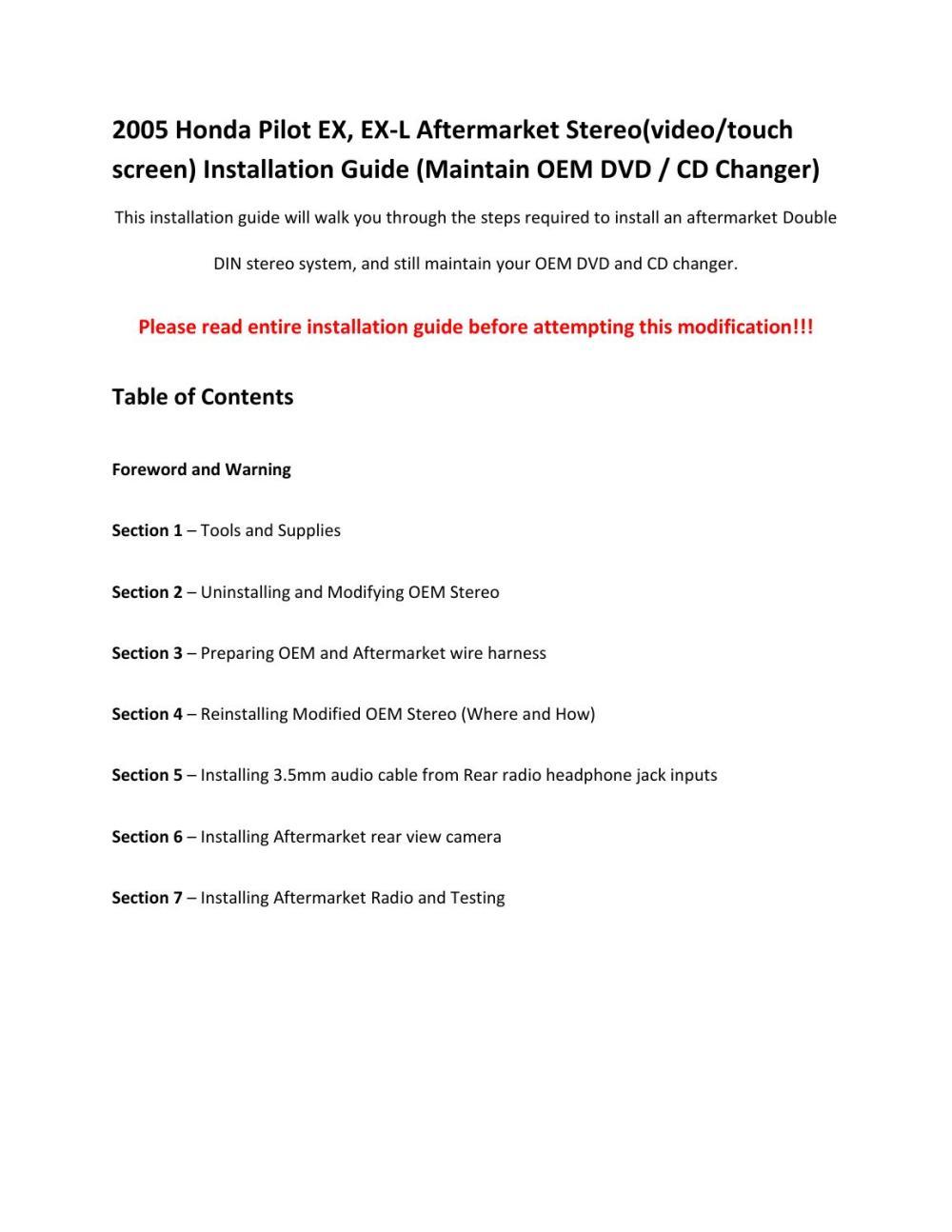 medium resolution of 2005 honda pilot ex l aftermarket radio installation by daniel leonard issuu