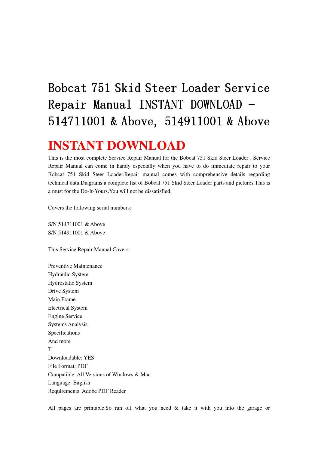 hight resolution of bobcat 751 skid steer loader service repair manual instant download 514711001 above 514911001 a
