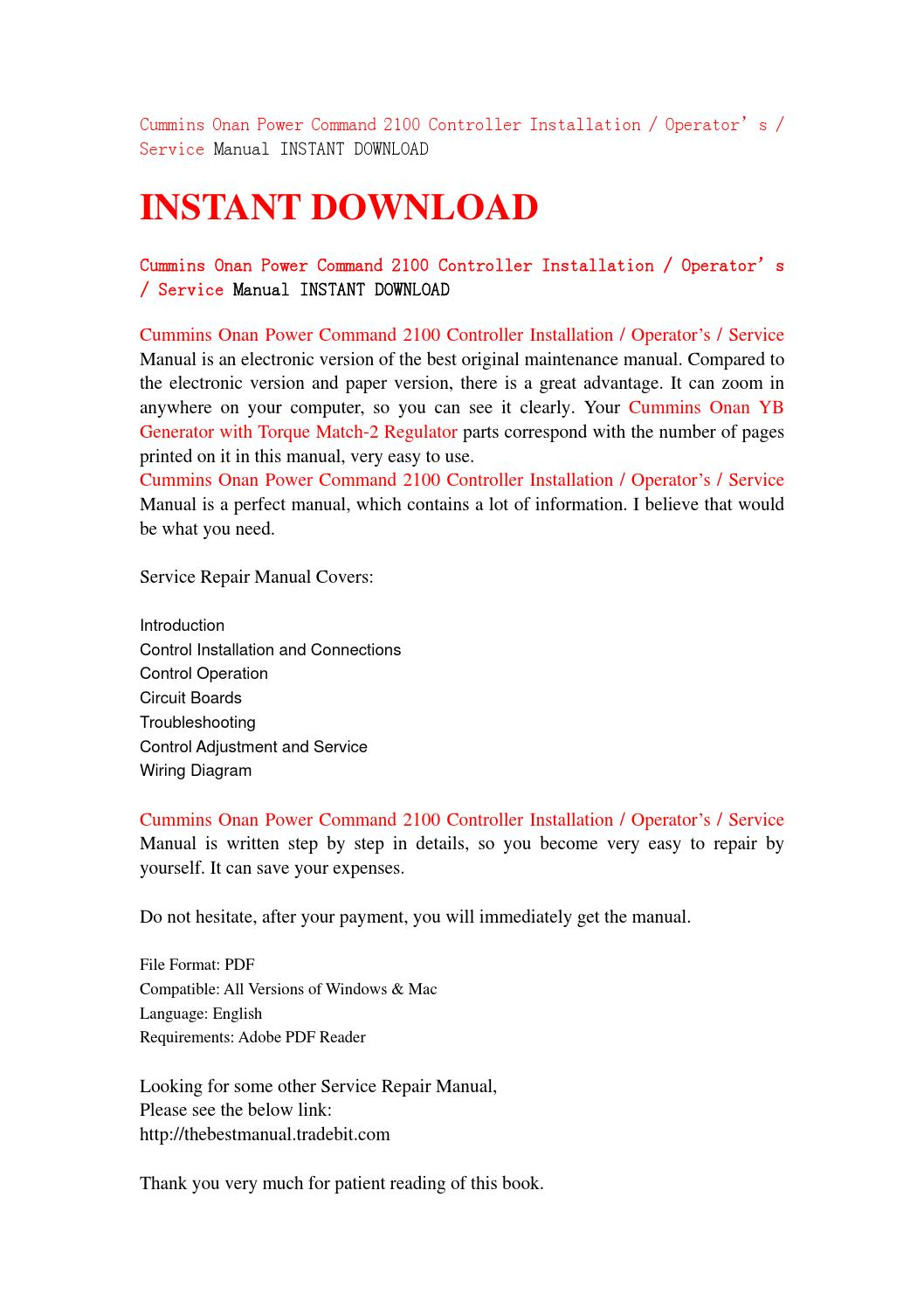hight resolution of cummins onan power command 2100 controller installation operator s service manual instant download