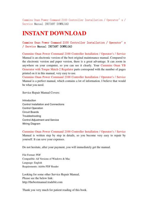 small resolution of cummins onan power command 2100 controller installation operator s service manual instant download