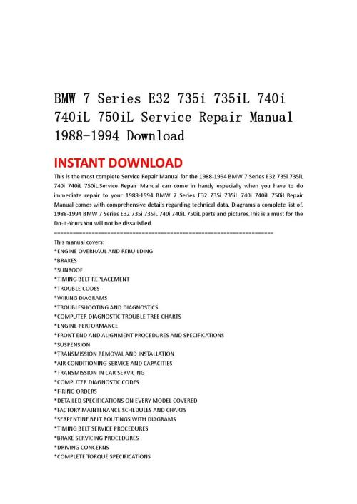 small resolution of bmw 7 series e32 735i 735il 740i 740il 750il service repair manual 1988 1994 download by jjfhsbebf issuu