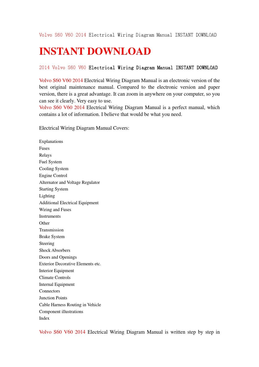 hight resolution of volvo s60 v60 2014 electrical wiring diagram manual instant download by jfhsejfn issuu