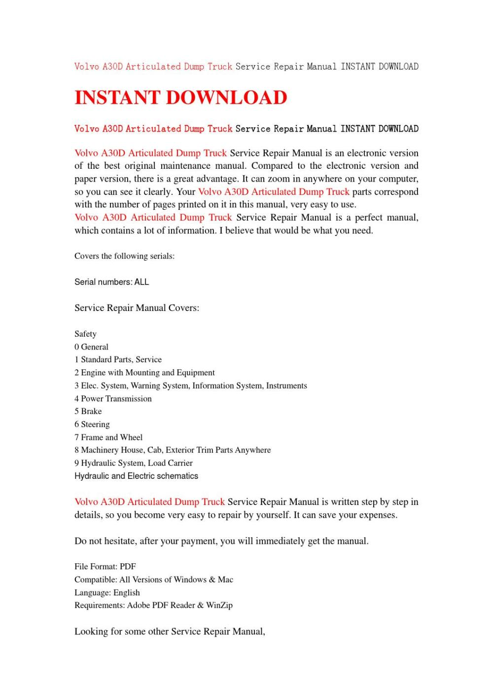 medium resolution of volvo a30d articulated dump truck service repair manual instant download by jfhsefjse issuu