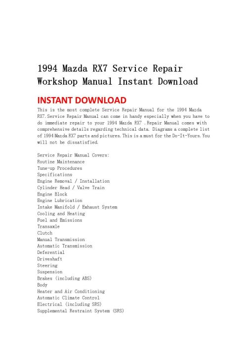 small resolution of 1994 mazda rx7 service repair workshop manual instant download by jhsnefjnsen issuu