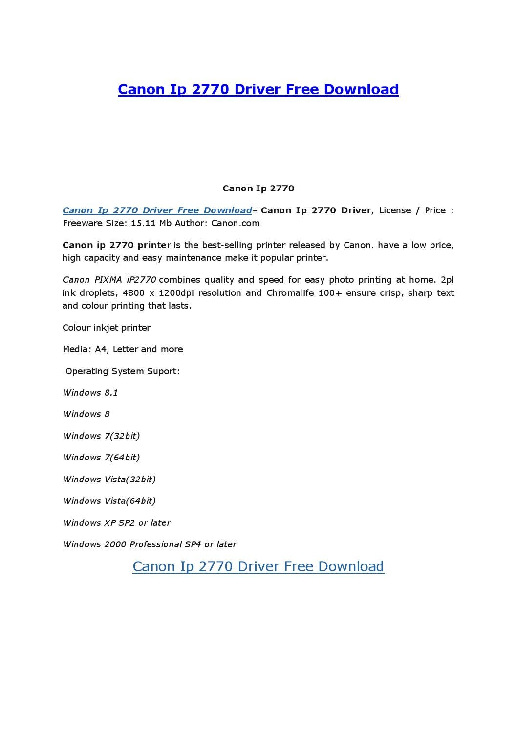 Driver Canon Ip2770 Windows 7 32 Bit : driver, canon, ip2770, windows, Canon, Driver, Download, Start, Issuu