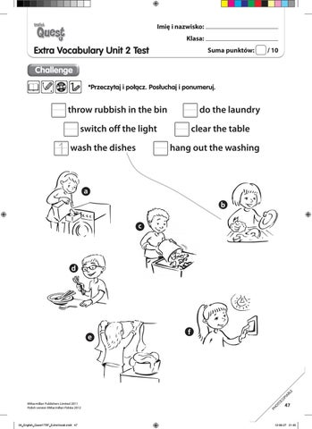 English Quest Extra Vocabulary unit 2 Challenge by