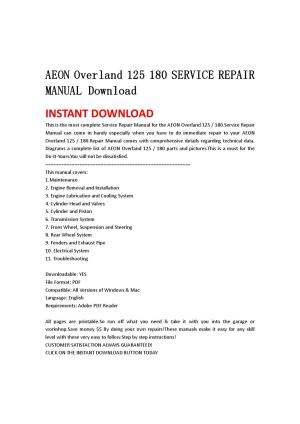Aeon overland 125 180 service repair manual download by