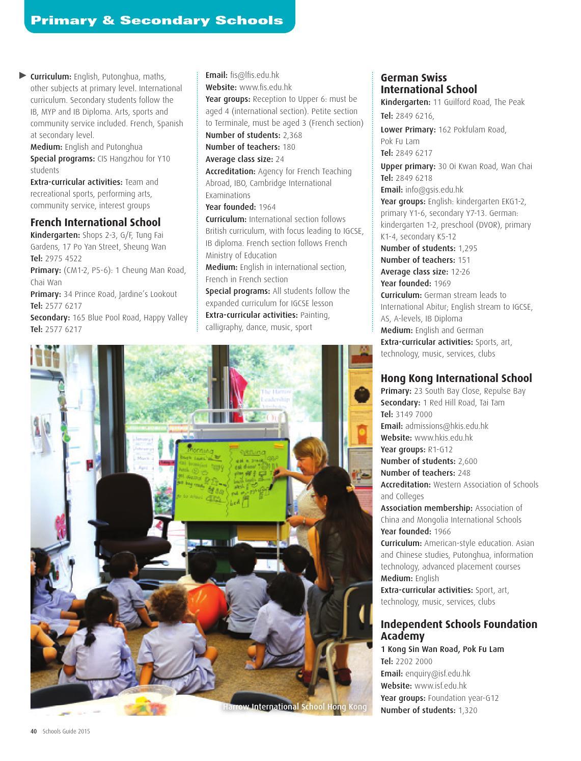 Secondary School List Hong Kong - School Style