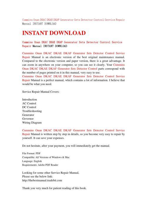 small resolution of cummins onan dkac dkae dkaf generator sets detector control service repair manual instant download by jfhsejfnse issuu