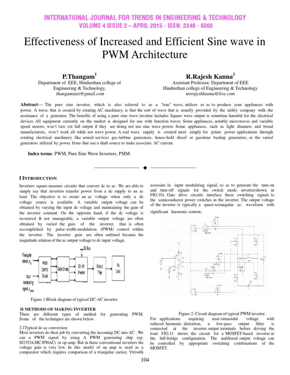 medium resolution of effectiveness of increased and efficient sine wave in pwm architecture by international journal for trends in engineering and technology issuu