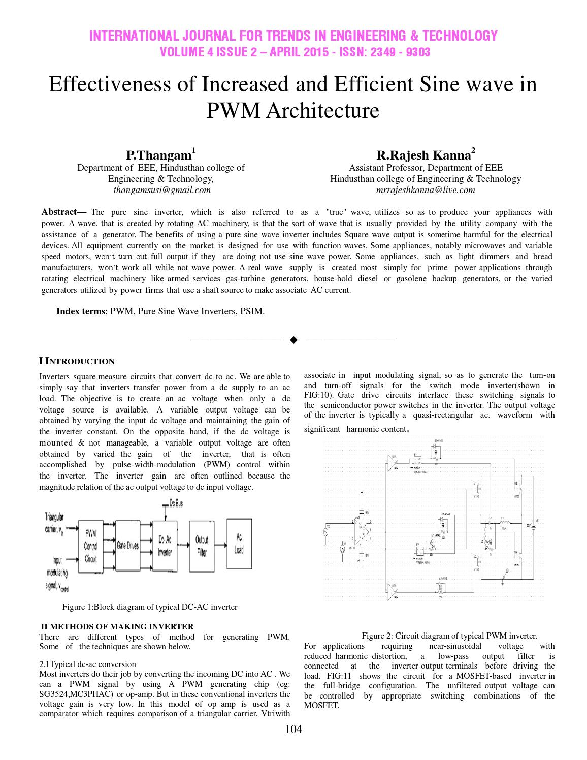 hight resolution of effectiveness of increased and efficient sine wave in pwm architecture by international journal for trends in engineering and technology issuu