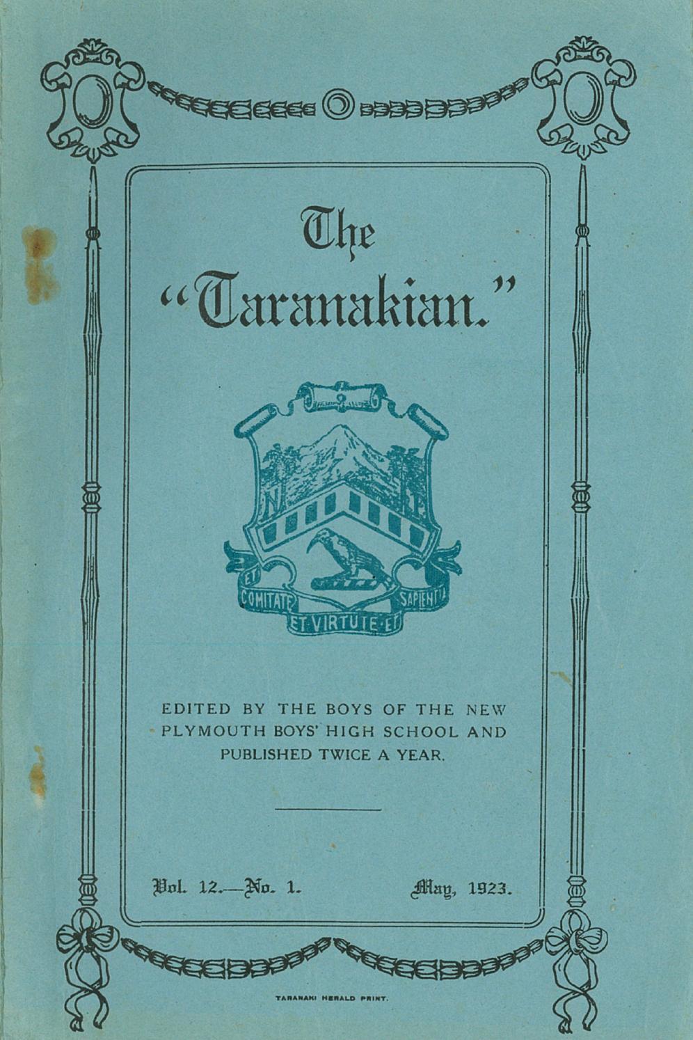 medium resolution of 1923 the taranakian vol 12 no 1 may