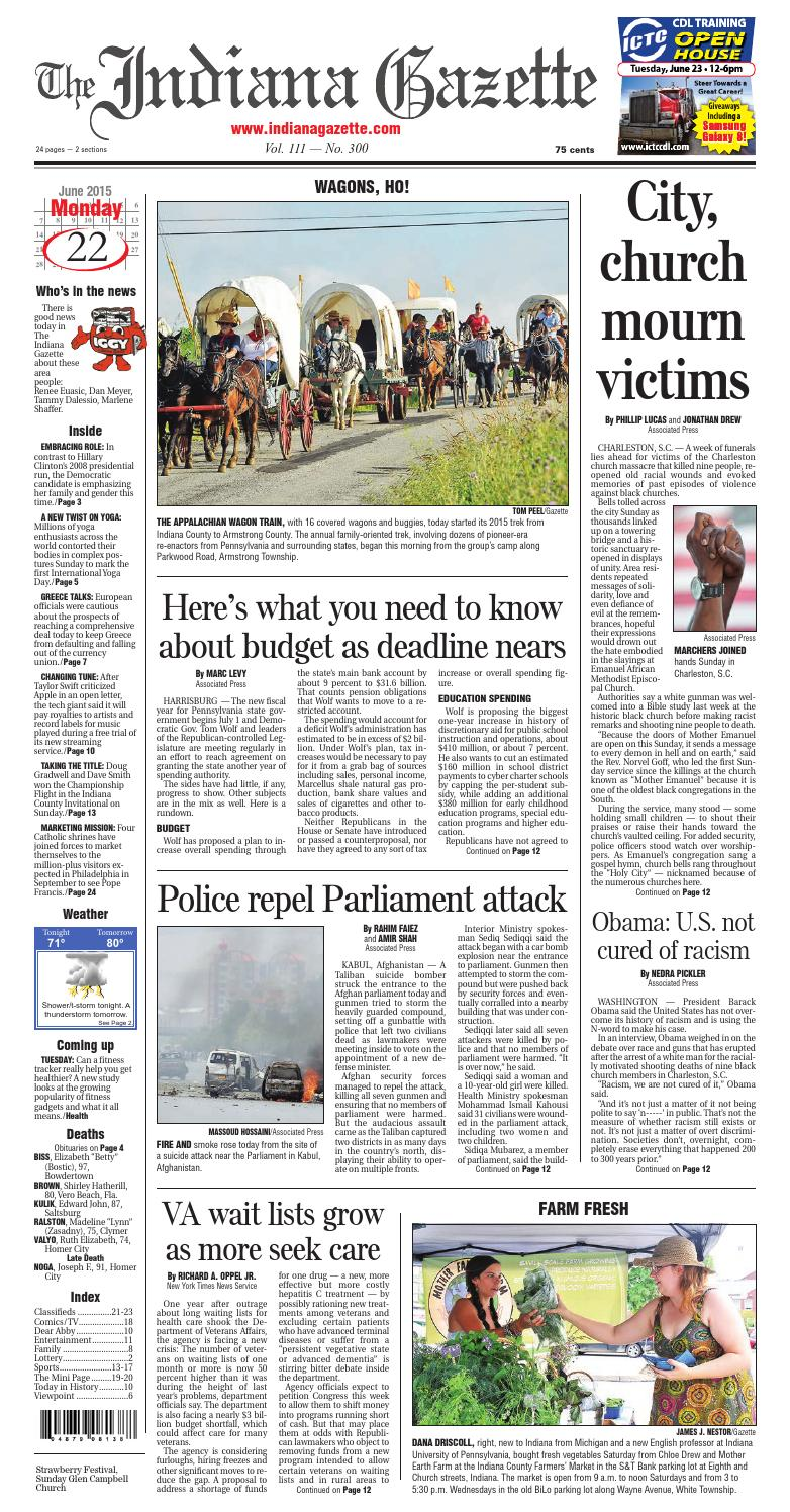 The Indiana Gazette Monday June 22 2015 By Indiana Printing