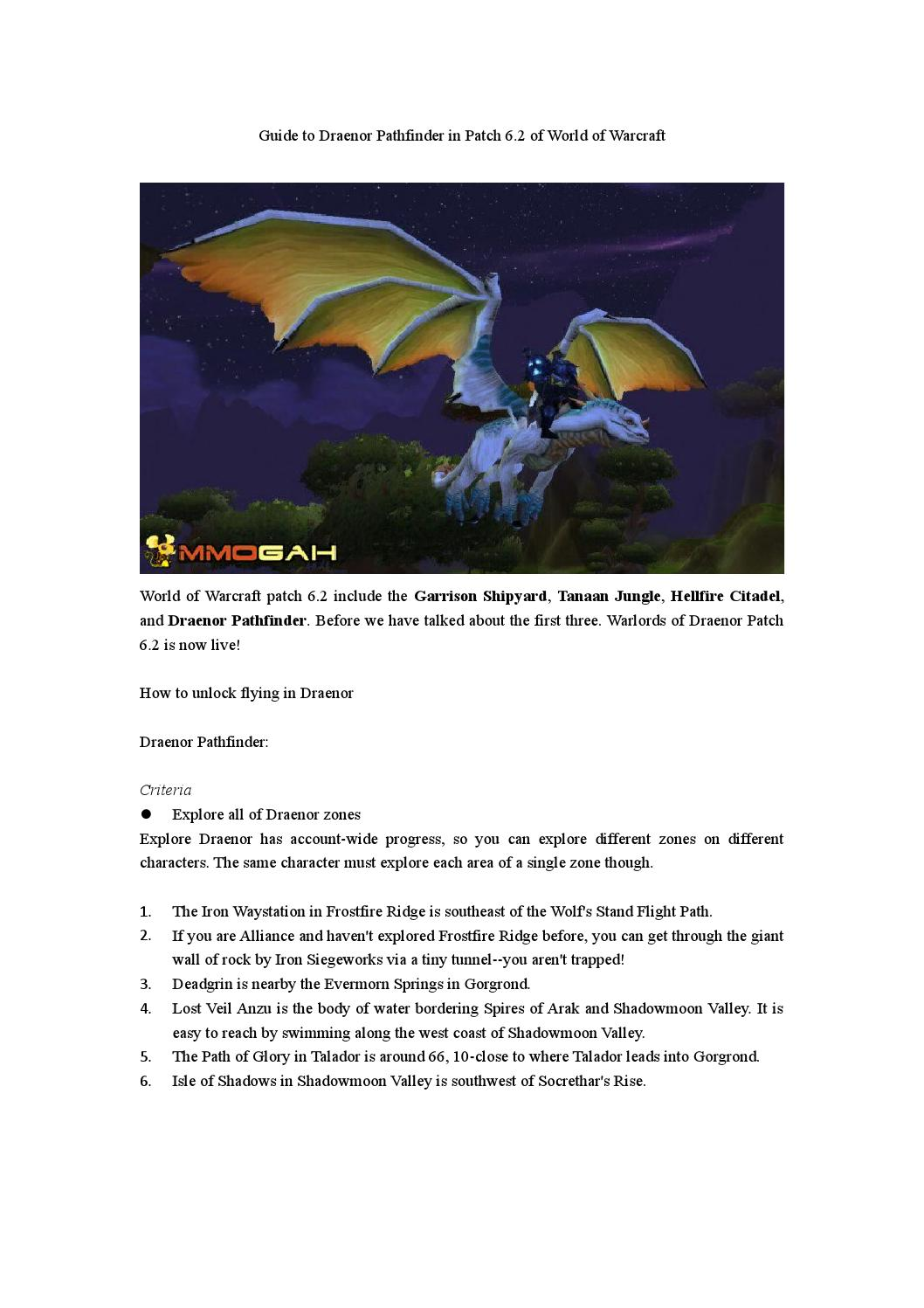 Lost Veil Anzu : Guide, Draenor, Pathfinder, Patch, World, Warcraft, Mmogh.com, Issuu