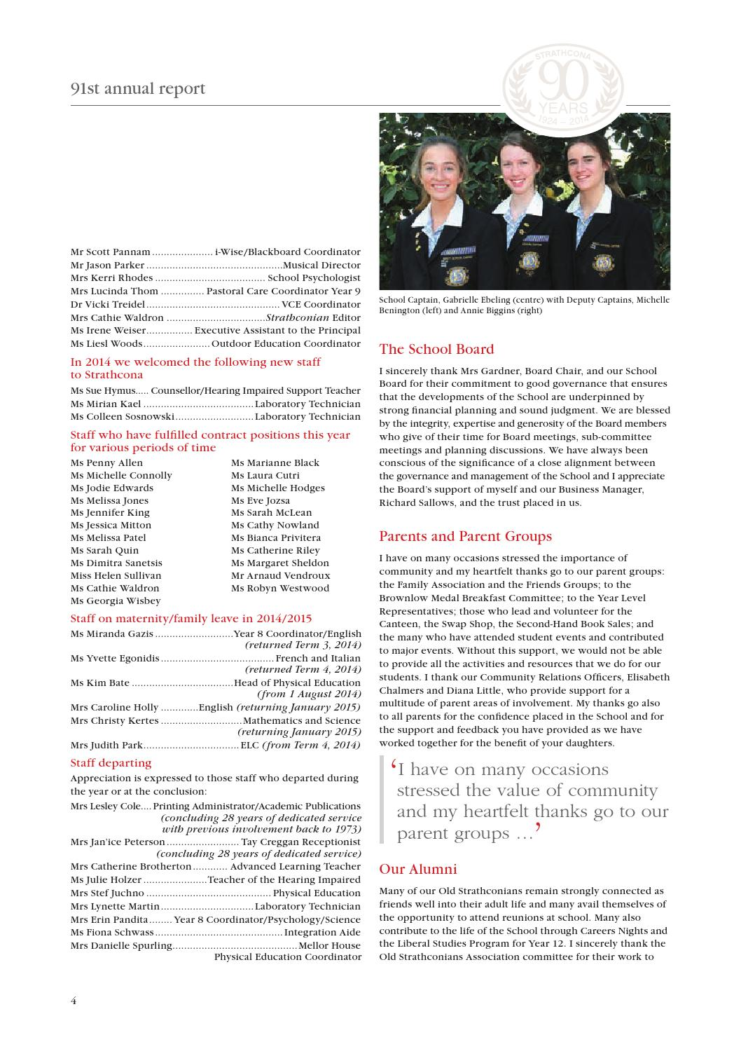 Strathcona Annual Report 2014 by Strathcona Girls Grammar