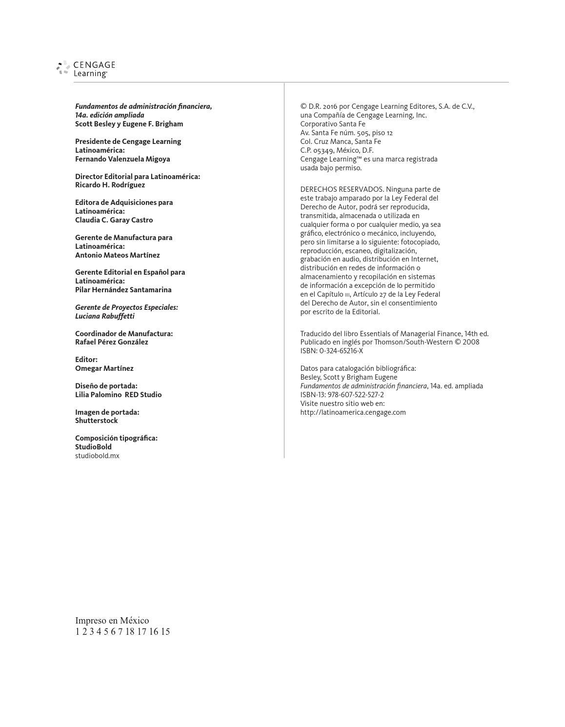 Fundamentos de Administración Financiera. 14a Ed. Scott