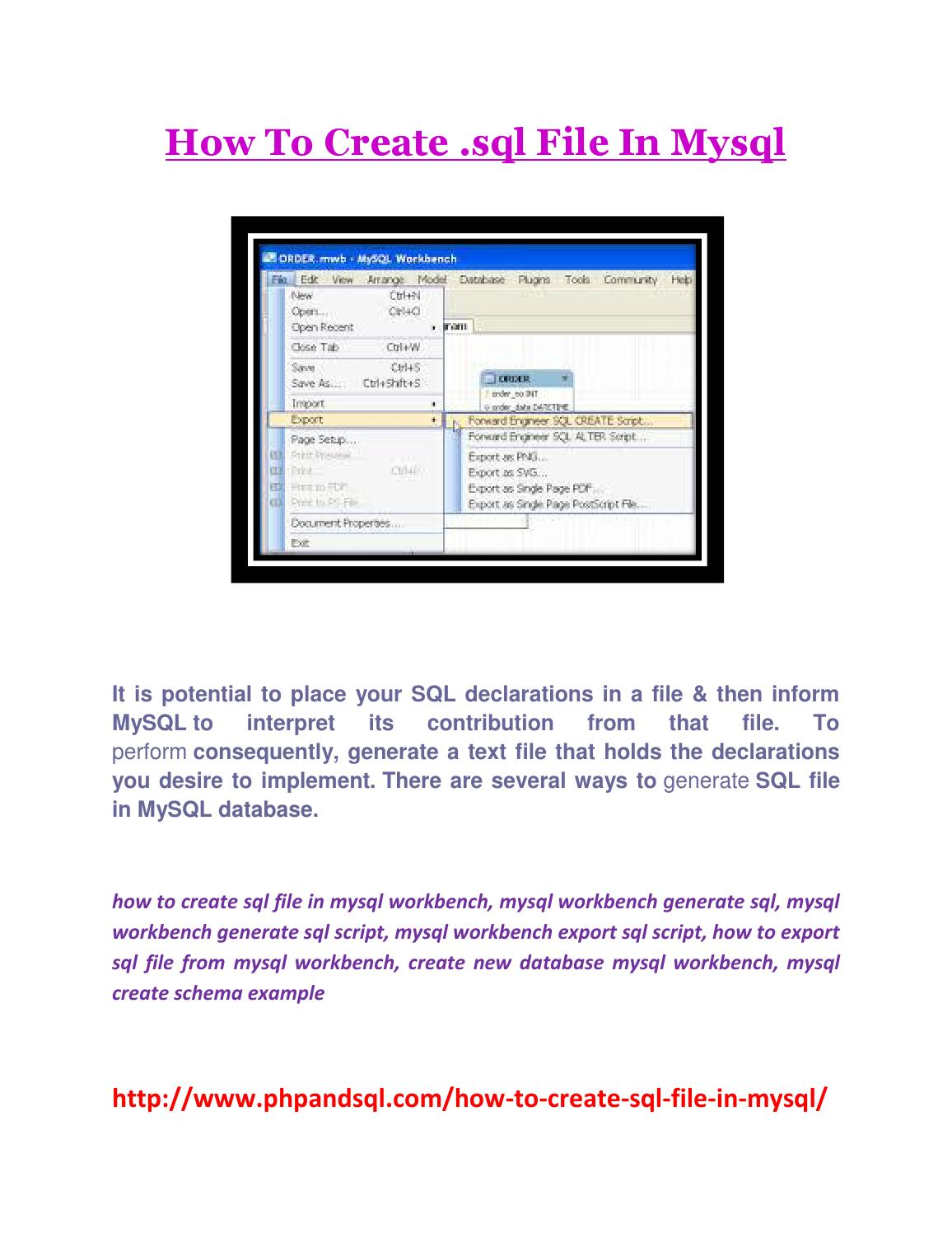 How to create sql file in mysql by Swati Sharma - Issuu