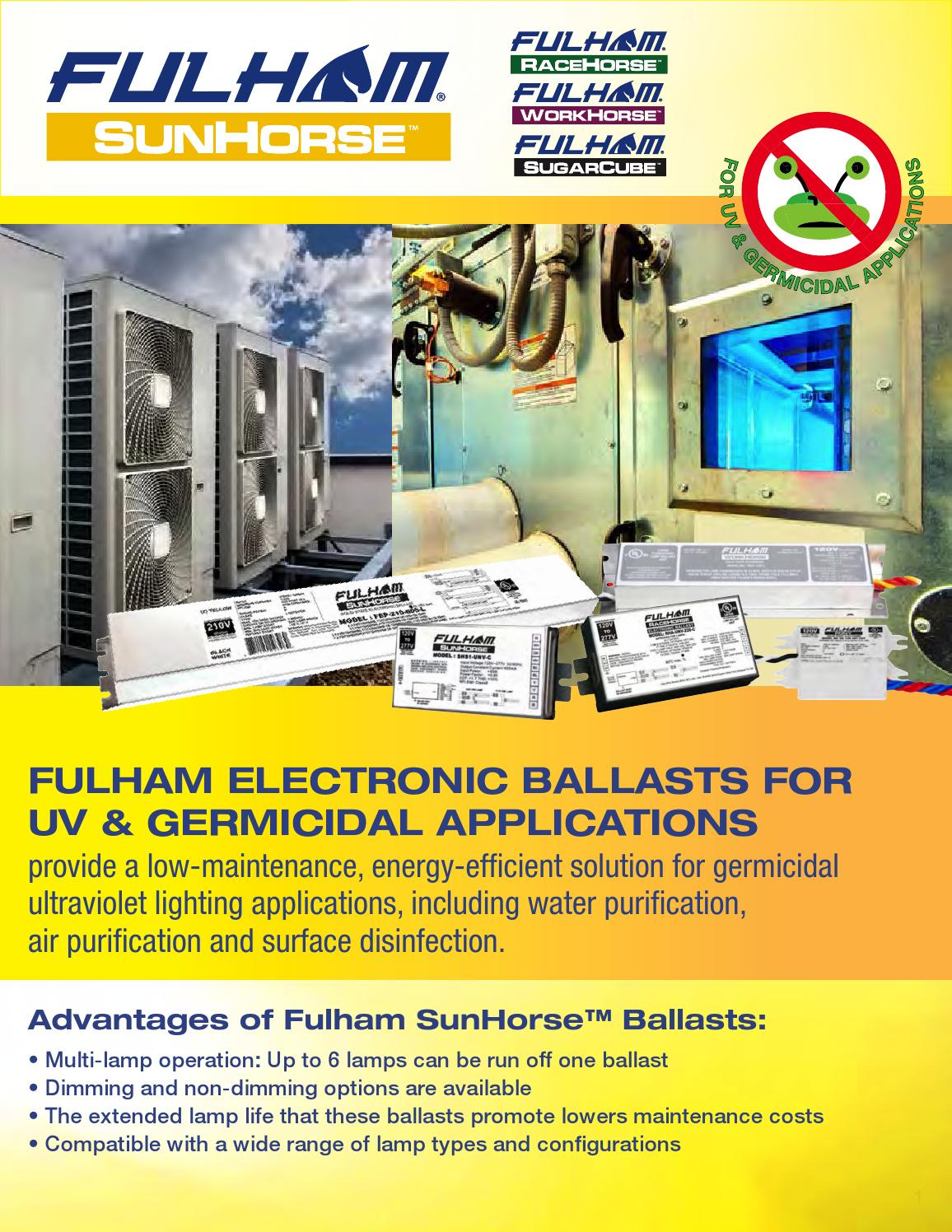 hight resolution of fulham electronic ballasts for germicidal uv ultraviolet applications