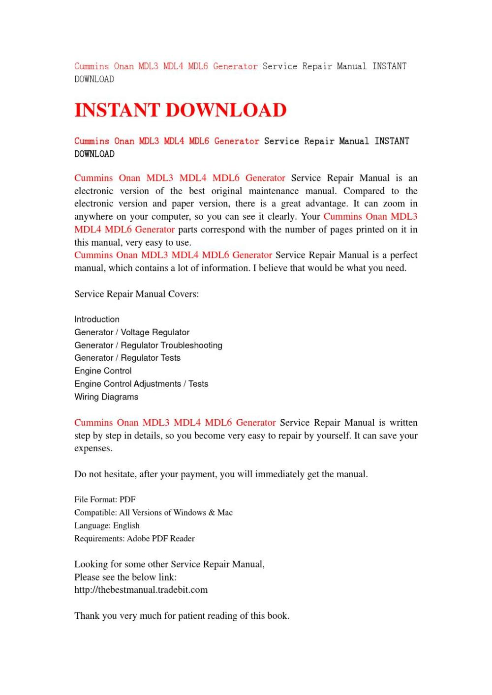 medium resolution of cummins onan mdl3 mdl4 mdl6 generator service repair manual instant download by serviemanual201525 issuu