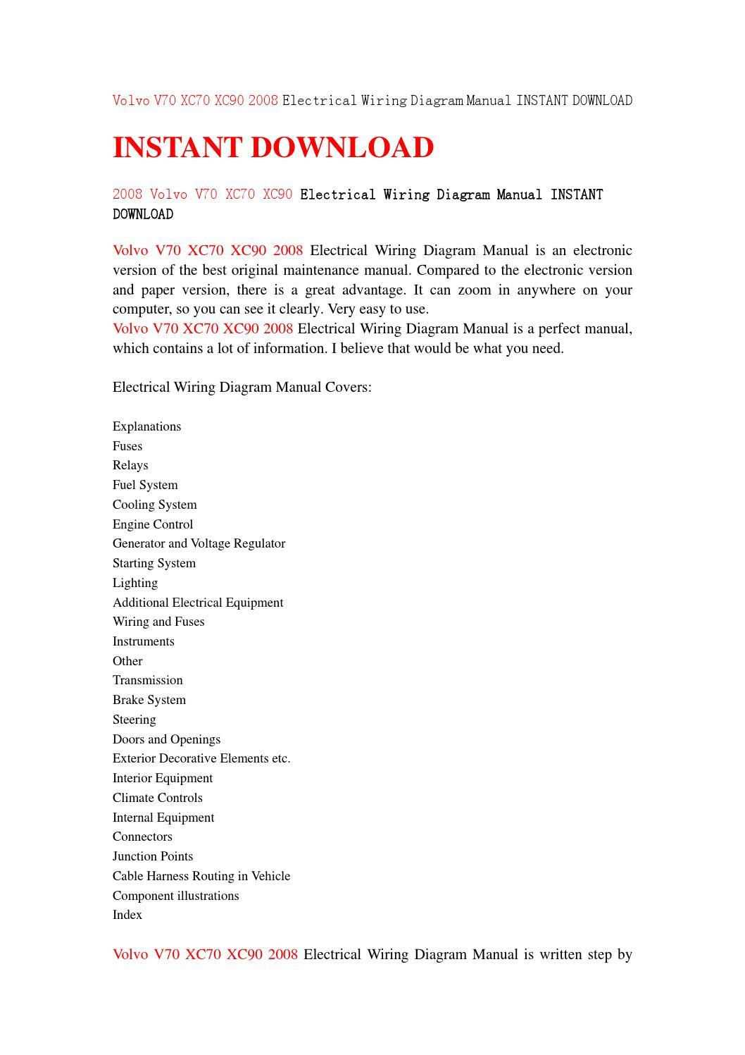 hight resolution of volvo v70 xc70 xc90 2008 electrical wiring diagram manual instant wiring diagram volvo v70 2008