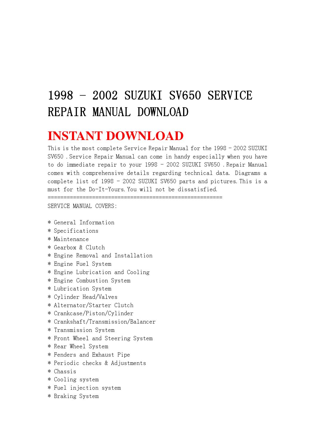 2002 sv650 wiring diagram how to home 1998 suzuki service repair manual download by