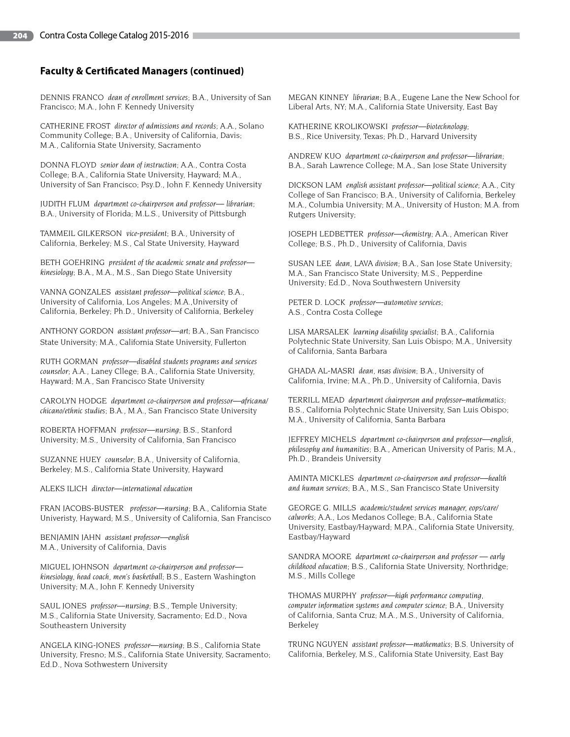 Contra Costa College Catalog 2015-16 by Contra Costa